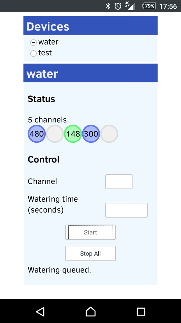 Screenshot of watering system control page on Android